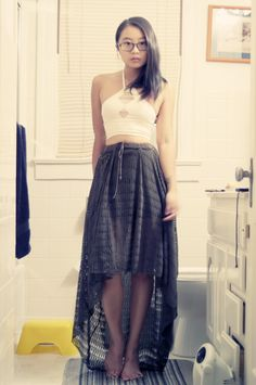 DIY Long skirt short and asymmetrical