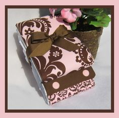 Baby Girl Shower Gift Set - Burp Cloths in Brown and Pink. $13.75, via Etsy.