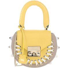 Salar Handbag ($425) ❤ liked on Polyvore featuring bags, handbags, yellow, print handbags, studded purse, animal purse, animal handbags and metallic handbags