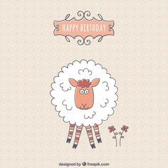 Birthday card with a cute sheep