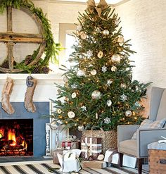 I love the piece above the mantle and the basket that the tree is resting in.