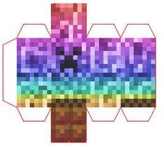 Papercraft Mini Rainbow Creeper Minecraft Templates, Minecraft Blocks, Minecraft Tutorial, Minecraft Crafts, Cool Paper Crafts, Fun Crafts, Diy And Crafts, Paper Cactus, Minecraft Characters