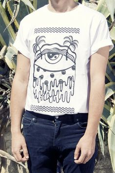 Hand silkscreened Acid T-Shirt for him/ for men - Smileys, palms and eye ($20.00) - Svpply