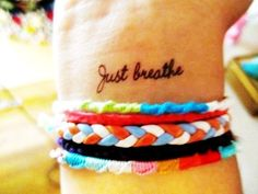 What does just breathe tattoo mean? We have just breathe tattoo ideas, designs, symbolism and we explain the meaning behind the tattoo. Tatuaje Just Breathe, Just Breathe Tattoo, Breathe Tattoos, Future Tattoos, New Tattoos, Girl Tattoos, Tatoos, Woman Tattoos, White Tattoos