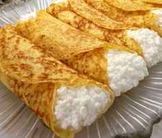 A kosher for Passover recipe for Cheese Blintzes, made with potato starch crepes filled with a sweetened mix of farmers cheese and cottage cheese. Passover Recipes, Snack Recipes, Healthy Recipes, Passover Menu, Healthy Snacks, A Food, Good Food, Food And Drink, Cheese Blintzes