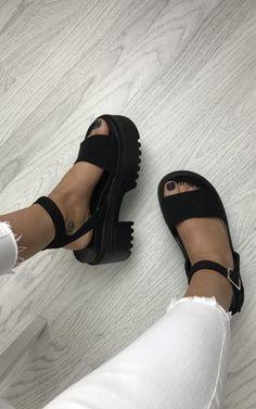 9f6312fa147c Chunky Platform Sandals - Black Suede by AJ