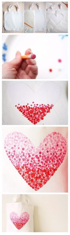 DIY Fabulous Heart Bag (Valentines or Mother's Day Diy And Crafts, Crafts For Kids, Arts And Crafts, Valentine Day Crafts, Holiday Crafts, Valentine Heart, Art Projects, Projects To Try, Diy Painting