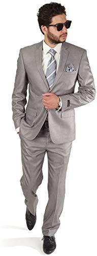 AZAR MAN Slim Fit Mens Silver Grey 2 Button Notch Lapel Suit
