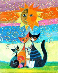 La famille chat prend le soleil                              …