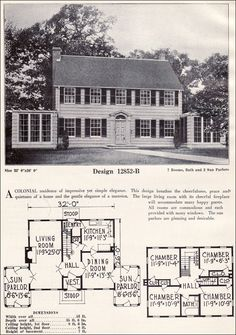 c. 1923 C. L. Bowes - 12852-B ~ Colonial Revival style homes are distinguished by their simplicity and symmetry. This side-gabled plan may be one of the most symmetrical we've seen. Each side is a perfect mirror image of the other with matching sun rooms. It's also notable for the number of windows ... each room is a tribute to light and cross ventilation.