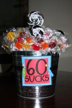 "60th birthday decorations. ""60 sucks"""