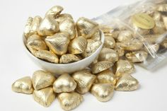 Color coordinated weddings are huge right now, and these Gold Foiled Milk Chocolate Hearts are perfect for gold themed weddings! You can use them to decorate reception tables or as wedding favors.