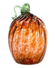 Take a look at this Rust Oval Pumpkin by Kitras Art Glass on #zulily today!