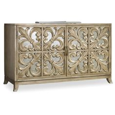 Found it at Wayfair - Melange Fleur-de-lis Mirrored Credenza