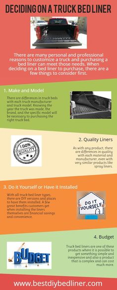 Things to know before Deciding a Truck Bed Liner  Before deciding a which truck bedliner you want to buy, you should check this infographic. You can see here some things that are really important for truck bedliner. So, you can easily decide, which one is best for you.