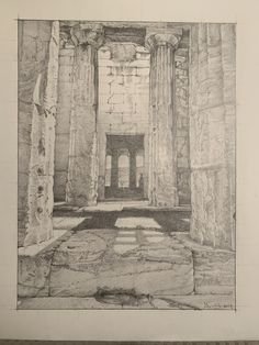 ‪A finished #drawing of The Temple of Hephaestus in the #Agora of #Athens #Greece. This view looks into the west Porch towards the rear Cella wall which has a doorway in it (added later), which in turn reveals the columns of the Pronaos and the Agora beyond. ‬ The doorway which connects the rear porch or 'opisthodomos' with the cella on the other side, did not exist in antiquity but was probably added when the building was converted into a church.
