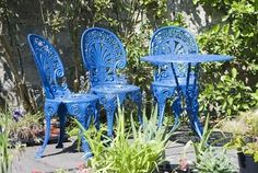 the bright blue undermines the gravitas of the wrought-iron, don't you think?