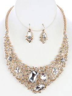 SIZE 14 INCH LONG COLOR Clear  DESCRIPTION NECKLACE AND EARRING SET FACETED GLASS STONE CUTOUT METAL BIB CRYSTAL STONE SEGMENTED TEXTURED LINK CHAIN FISH HOOK 14 INCH LONG 2 1/4 INCH DROP NICKEL AND LEAD COMPLIANT