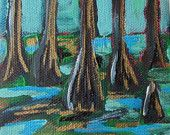 Cypress Swamp Painting by Laura W Taylor