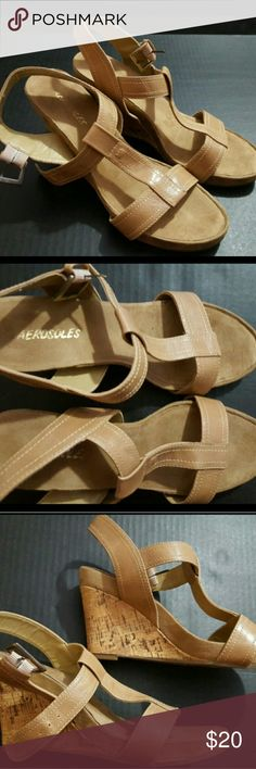 Aerosoles Women's Size 8.5 Wedge Sandals Plush euc Aerosoles Women's Size 8.5 Wedge Sandals Plush euc  These are a great condition pair of wedge sandals from Aerosoles. These are a Women's size 8.5. These are a tan color and have plush insoles. These are pre-owned and some signs of wear should be expected.? AEROSOLES Shoes Wedges