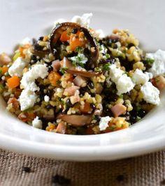 Σαλάτα από φακές, με πλιγούρι, μανιτάρια και κατσικίσιο τυρί   Γιάννης Λουκάκος. Lentil salad with bulgar wheat, mushrooms and goat cheese