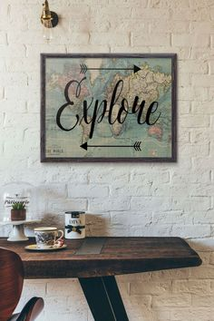 Explore Print, Travel Poster, World Map Art, Travel Quote, Motivational Wall, World Map Poster, Inspirational Quote, Vintage Map, Wanderlust by PartyInked on Etsy https://www.etsy.com/listing/247009440/explore-print-travel-poster-world-map #travelworldmap