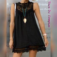vestido negro boho AliExpress @tresdecompras                                                                                                                                                                                 Más