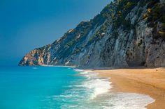 Paisaje playa azul, impresión de fotos de Playa Paraíso, hermoso, tranquilo paraíso isla, Grecia, azul turquesa del Mediterráneo