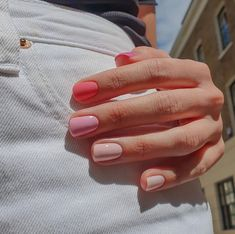 Heard Of The Skittles Manicure? Harry Styles Is A Fan : Heard Of The Skittles Manicure? Harry Styles Is A Fan Taste the rainbow Stylish Nails, Trendy Nails, Fancy Nails, Sophisticated Nails, Nagellack Trends, Best Acrylic Nails, Pink Gel Nails, Short Gel Nails, Gradient Nails