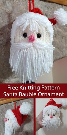 Christmas Tree Trimming Knitting Patterns - In the Loop Knitting Knitted Christmas Decorations, Christmas Tree Ornaments, Christmas Crafts, Father Christmas, Christmas Goodies, Knitting Projects, Crochet Projects, Knitting Ideas, Crochet Ideas