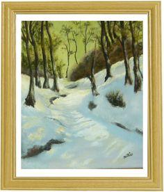 Snowy forest - created by: (Kovácsné) Szöllős Éva  - oil, 24x30 cm canvas (original: W. L. Palmer)