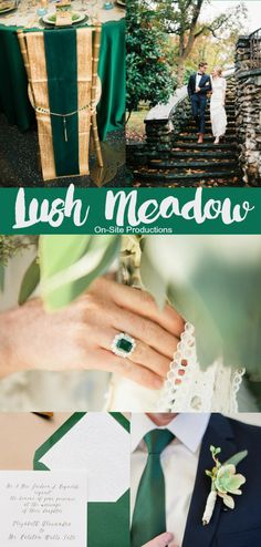 Pantone Fall 2016 Color Report: Lush Meadow is a rich, yet elegant color that brings sophistication to the season.  A bright color with a nod to nature, you can certainly take advantage of lush fields, green trees, and gardens to incorporate this color into the perfect wedding palette!  And that emerald engagement ring though...it's a pure beauty!