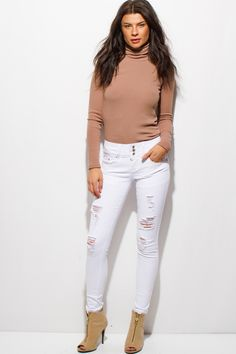 cdd279354636 FANTASY SKINNY | white denim mid rise three button distressed ripped skinny  jeans - 1015store.com