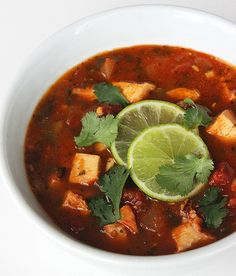 This fresh and spicy tortilla-less soup is full of fresh produce and weighs in at less than 200 calories per satisfying serving. It's high in vitamin C and protein, and anyone who loves Mexican-inspired flavors will find a new favorite healthy dinner in this oh-so-easy low-carb recipe. Photo: Lizzie Fuhr