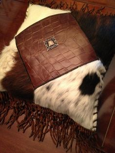08d1712d72c Gorgeous 18″ Custom Leather   Cowhide Hand Laced Accent Throw Pillow With  Fringe