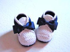 Crochet Estilo Tuxedo botines del Bebé del algodón - Tallas 4 - 0-3mo, 3-6mo, 6-9mo, 9-12mo - Por favor, especifícalo Tamano despues de la com ...