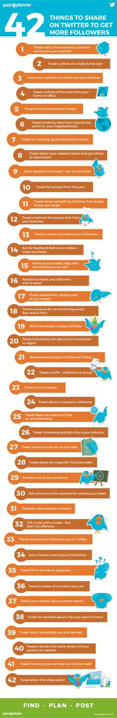 42 Things to Share on Twitter to Get More Followers - #Infographic