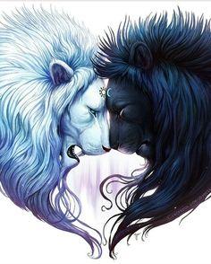 Lion. Yin yang