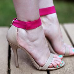 Replace the ankle strap in a pair of sandals with some colorful elastic for a statement all your own!