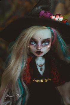 MonstrousLab on Etsy Custom Monster High Dolls, Monster High Repaint, Custom Dolls, Ooak Dolls, Blythe Dolls, Art Dolls, Dark Witch, Gothic Dolls, Doll Painting