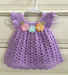 Crochet Designs And Free Patterns: Dress Crochet Newborn Baby- Video Tutorial