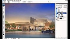Architectural Rendering Tutorial - Compositing Sky in Photoshop Photoshop Youtube, Photoshop Tips, Photoshop Tutorial, Sketch Up Architecture, Architecture Student, Dusk Sky, Photoshop Rendering, 3d Tutorial, 3d Max