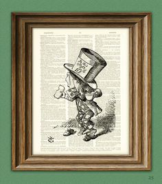 The Mad Hatter printed on upcycled vintage dictionary page -- what a unique gift for someone's office (you can get lost in the 100s of creative design options by this artist)