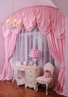 25 Princess Curtains Inspiration For Your Bedroom - decorisme Girls Bedroom Curtains, Pink Curtains, Home Curtains, Shabby Chic Bedrooms, Shabby Chic Furniture, Kids Bedroom, Master Bedroom, Girls Canopy, Swag Curtains