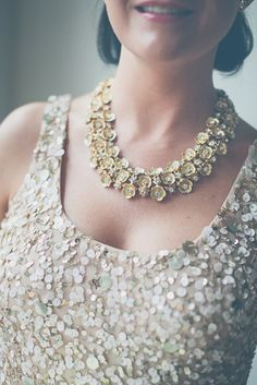 White and Gold Wedding. Gold Bridesmaid Dress.  Sparkly Gold Bridesmaids | photography by http://www.lovetheschultzes.com/
