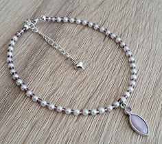 Lilac Purple Anklet Ankle Chain with Pearl Effect by CiaoBambinoUK