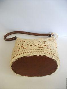 Купить вязаная сумка на плечо - белый, однотонный, женская сумка, вязаная сумка