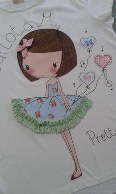 Con tela y bordado... otra opción para adornar las camisetas con los dibujos de Manuela.