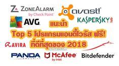แนะนำ TOP 5 ซอฟต์แวร์ Antivirus ฟรี! ที่ดีที่สุดในปี 2018 ติดตั้งไว้อุ่นใจ