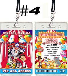 Carnival circus vip pass birthday party invitations favors digital u circus carnival birthday party ticket invitations vip passes and favors u print ebay stopboris Images